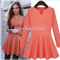 2014 Autumn Desigual Women  A-LINE Brief  Dress Plus Size Fashion Girls Vestido De Festa solid color Dress Vestidos