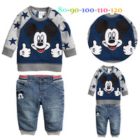 CCS173 Free shipping baby boys autumn cartoon suit mickey sweatshirt +trousers kids clothes set children clothing sets retail