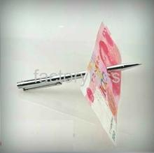 Free Shipping Magic Tricks Cool Magic Ball Pen Trick Games Gimmick Penetration Thru Bill without Holes [4 4008-697](China (Mainland))