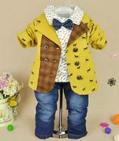 2014 new boys gentlemen cartoon wooden horse blazer+shirt+pant clothing sets 3pcs kids clothes sets baby boy coat set boy