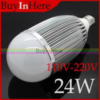 Energy-saving 24W E27 Warm/Cool White High Power 24*1W LED Ball Bulb Globe Aluminum alloy Light Lamp 2800K-3500K 110v-220v