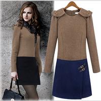 New Women's Long Sleeved Dress Winter Wool Dress Non Chiffon