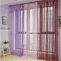 Silver Silk String Curtain Tassel Window Door Divider Sheer Curtains Panel Scarf