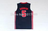 Wholesale 1992 USA Retro Dream Team One Jersey #5 David Robinson Jersey and Shorts Cheap Basketball Jerseys Free shipping