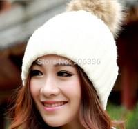 2014 New fashion warm knitted women winter hats cute rabbit fur ball cap for women Free Shipping