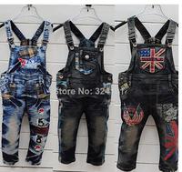 (K9)boys girls denim overalls kids jumpsuit pants children suspender jeans wear 4 types 5pcs wholesale 90-130cm