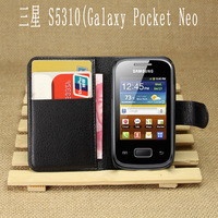 factory price 5 colors business style wallet Leather Case For Samsung  galaxy Pocket Neo S5310 free shipping