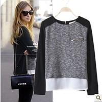 Plus Size 4XL 2014 Blusas Femininas Shirts Women Chiffon Blouses Stitching Work Wear  Long Sleeve Zipper Split Division Tops