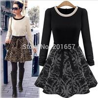 2014 Autumn Desigual Women  A-LINE Dress Plus Size Fashion Girls Vestido De Festa flower printed patchwork Dress Vestidos