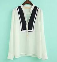 ST1359 New Fashion Ladies' elegant stand collar color blocking blouses OL long sleeve Shirt casual slim brand designer tops