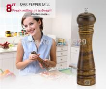 "Wholesale Cooking Tools 8"" Oak Pepper Mill Salt Spice Temperos Shaker Condimentos Cruet Galheteiro Barbecue kitchen Accessory(China (Mainland))"
