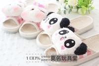 Lovely men and women lovers home floor linen slippers cartoon panda Massage drag
