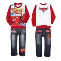 xlbb2 new 2014 cars design 2-8 age long sleeve boys t shirt + jeans casual baby boy clothing set free shipping 6pcs/ lot