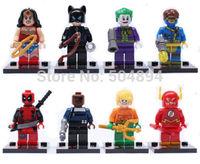 8sets Super Heroes Jaker Deadpool Batman spider Man Building Toys Blocks Mini Figures Toy Minifigures