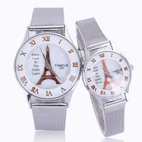 Free shipping Luxury 2014 lover watch man woman paris eiffel tower roman number alloy band quartz clock top quality dropship