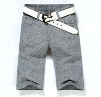 50% Discount 2014 Brand New Grey Color Men Linen Short Pants Have Big Size MC001