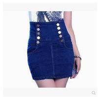 2014 European Style Big Yards High Waist Denim Skirt Bust Skirt Was Thin Package Hip Skirt Breasted Fashion High Quality