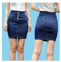 2014 New Retro Big Yards Waist Denim Skirt Package Hip Skirts Stretch Slim Female Summer Fashion High Quality Free Shipping