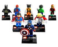 Lot of 8 Sets Super Heroes Minifigures Building blocks bricks Toys Wolverine Thor HULK IRONMAN SUPERMAN Bat Man Figure Toy