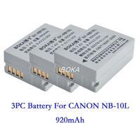 3PC 7.4V 920mAh NB-10L rechargeable Battery NB 10L NB10L Camera batteries for Canon PowerShot SX40 SX50 SX60 HS G1X G15 G16