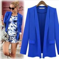 spring 2014 jacket women Small  one button suit jacket female fashion long-sleeved Large size veste femme blazer