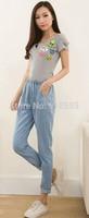 New 2014 Autumn Women's Denim Trousers Fashion Casual Women's Harlan Jeans Free Shipping Promotion Dark blue / Light blue