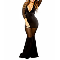 2014 Women Black Perspective Evening Dresses Sexy Mesh Dovetail Dress Charming  Maxi Dresses