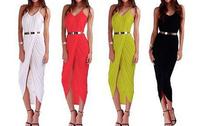 free shipping 2014 Asymmetric Hem Front Slit   Maxi Bodycon Dress Party Club Cocktail Summer  size s -  xl