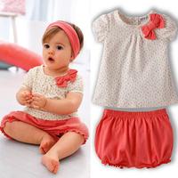 Kids Baby Girl Cherry Dots T-shirt Tops+Pants 2Pcs Set Bow Cotton Summer Outfits Dropshipping Freeshipping