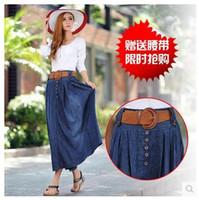 2014 New Fall Denim Skirt Ladies Put On A Large Pleated Skirts Was Thin Skirts Korean Yard Fashion High Quality Free Shipping