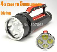 5000 Lumens 4xCree T6  Waterproof Diving  Flashlight 4T6 Handlamp Torch Power By 2x26650 Battery Magic Control FREE Shipping