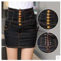 2014 Summer New Female Bust Denim Skirt Package Hip Black High Waist Skirts Big Yards Fashion High Quality Free Shipping