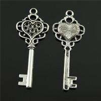 100pcs/lot 55*22mm antique bronze, antique silver tone zinc alloy key charm