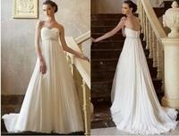 Fashionable New White Chiffon Small Tailing beach Wedding dress 2014 vestidos de noiva custom made Wedding dresses gown W83