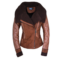 Women's winter fur stitching suede motorcycle jacket lapel warm Pu leather coat with plush interior black and brown