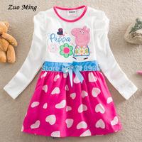 New 2015 peppa dress Anna dress, girls dresses clothing & Long sleeve children's clothes,cartoon dress 2 color Size(US): 2T - 5T