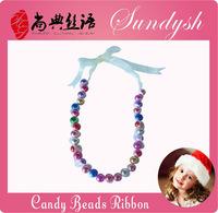 Handmade Fashion Bubblegum Beaded Blue Lace Princess Necklace For Girls