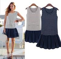 2014 Women Summer Dresses New Fashion Stripe Patchwork Knitted One-piece Mini Dress Casual Plus Size XXXL Sleeveless Cotton