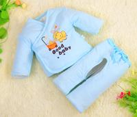 free shipping baby clothing set new born Spring and autumn wadded jacket baby twinset wadded jacket rabbit thickening coat set
