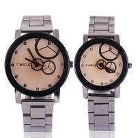 Trend fashion male women's spermatagonial lovers steel watch wheel gear analog design unique quartz high quality free shipping