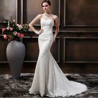 Fashionable High Quality Lace Wedding dress 2014 Sexy Tube Top Tailing Mermaid Wedding dresses vestido de noiva bridla gown W84