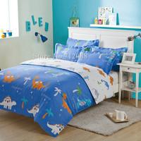 new 100% cotton Korean Style Cartoon Dinosaur Animal Blue White Modern 4pc full/queen quilt/duvet covers bedding sets,Wholesale