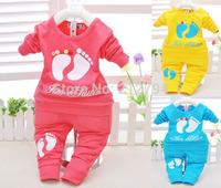 Wholesale  Baby's Sets / Autumn Candy Color Cartoon Baby 2pcs Cloth Set Infant Long Sleeve Cloth Suit Top T Shirt + Pants