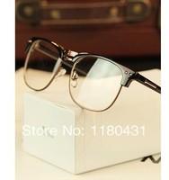 2014 wholesale new fashion Luxury metal Semi-Rimless women men Rivet glasses plain glasses myopia frame oculos Gafas de sol