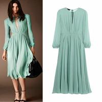 New Fashion Celebrity Dress 2014 Autumn Women Hollow Out V Neck Long Sleeve Hot Color Silk Chiffon Dress Vestidos Adventure Time