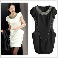 2014 summer new European and American large size women OL temperament dress Slim luxury hand-beaded O-neck chiffon dresses