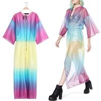 2014 Newest SALE! Bohemia Women Street Fashion Bloggers Oversize Tie-dye Hemp Sunscreen Gradient Cardigan Colorful Maxi Dress