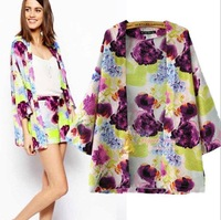 Ladies' Vintage Flower Print Kimono Coat Jacket New Fashion Phoenix Pattern Loose Outwear Casual Outwear Tops