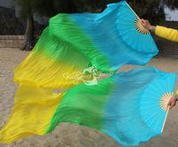 Real Silk Fan Veil For Belly Dance China Silk Veil Fan Veil Sky Blue - Green -  Yellow Color