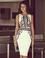 2014 dress new vestidos women dress floral print women summer dress fishtail pencil  dresses